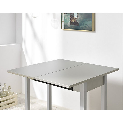 Mesa alba libro cristal negro armazón y patas aluminio 90x45