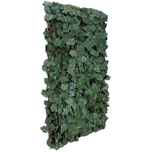 Celosía extensible de mimbre verde hojas deco 100x200 cm