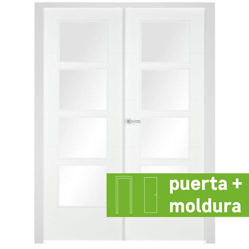 Conjunto puerta doble vidriera lucerna derecha 145 cm + tapeta