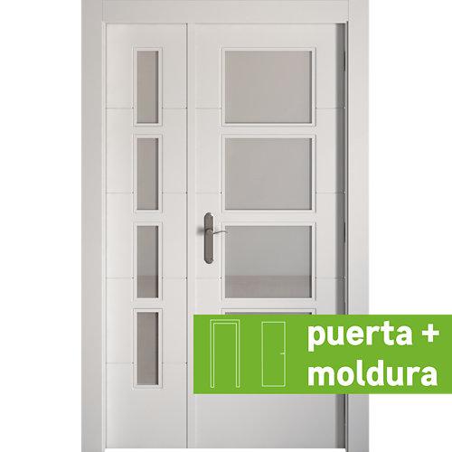 Conjunto puerta doble vidriera lucerna derecha 105 cm + tapeta