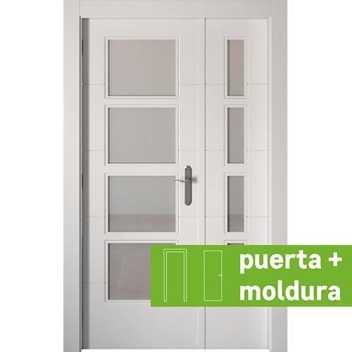 Conjunto puerta doble vidriera lucerna izquierda 125 cm + tapeta
