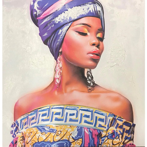 Lienzo pintado mujer 80 x 80 cm