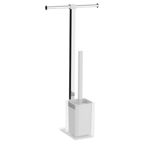 Escobillero y portarollo rainbow aluminio blanco 25.7 x58.8 cm