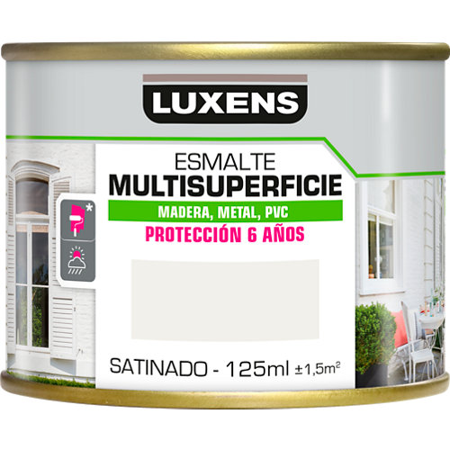 Pintura multisuperficie satinado al agua luxens 125 ml white