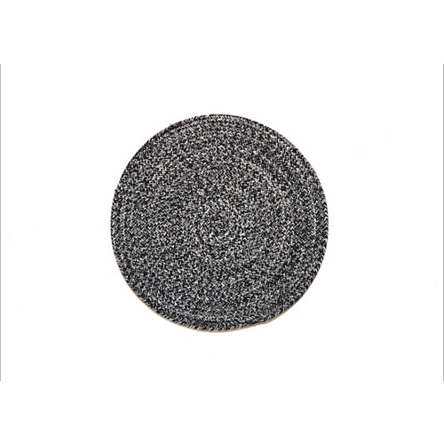 Alfombra algodón ekips gris negro de diametro 90 cm