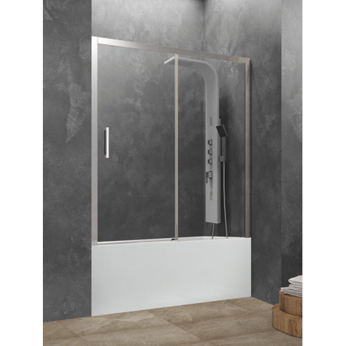 Mampara bañera akt frontal transparente cromado 160 x 150 cm