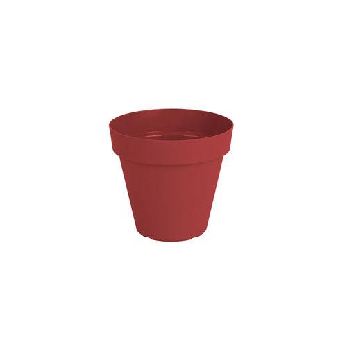 Lote maceta redonda y plato capri rojo 14 cm