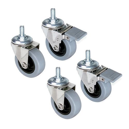 4 ruedas con perno m8 ø50 mm acero y plástico gris