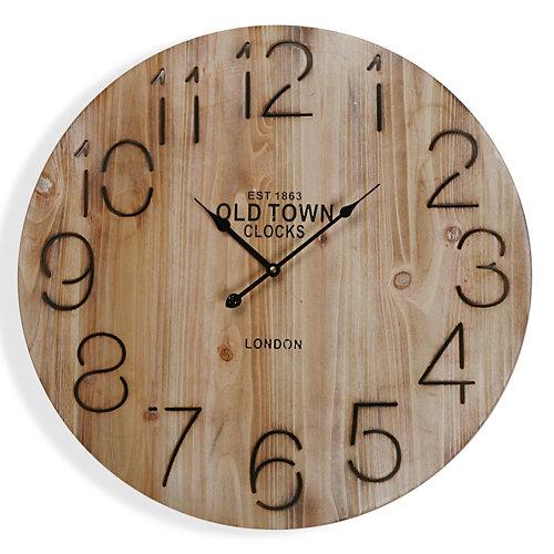 Reloj de pared redondo marrón de 58 cm