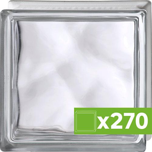 Lote 270 bloques de vidrio ondulado transparente basic