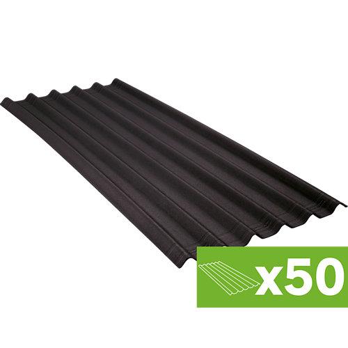 Lote 50 placas asfálticas negras fibra resina 810x2000 mm