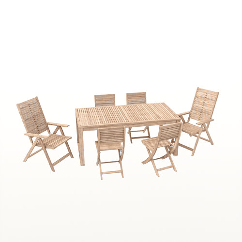 Conjunto de muebles de exterior solaris extensible de madera para 6 comensales
