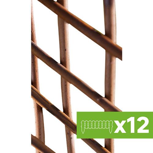 Lote 12 paneles de celosía extensible de mimbre marrón oscuro 50x150 cm