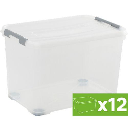 Lote 12 cajas spaceo con rueda 39x60x40 cms 65l