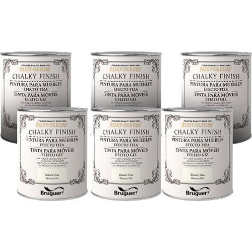Lote 6 botes de 750 ml rust oleum de pintura para muebles efecto tiza blanco