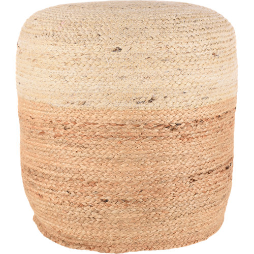 Puf bicolor de fibra natural 45x45cm