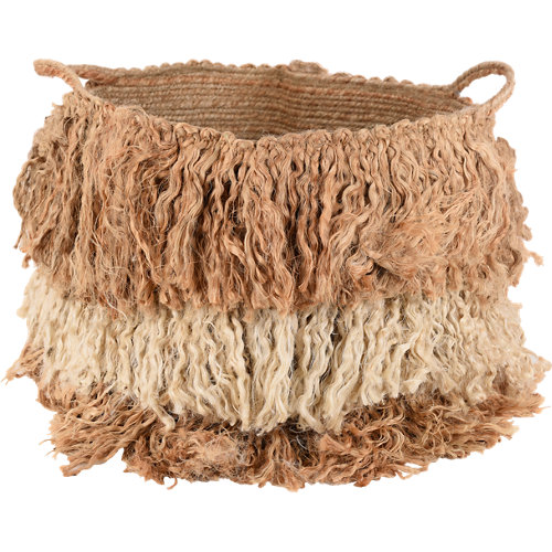 Cesta plegable de yute, fibra natural de 30x37x30 cm plegable
