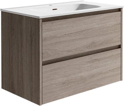 Mueble baño Moon roble gris 80 x 45.5 cm