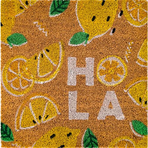 Felpudo amarillo de coco y pvc 48 x48 cm
