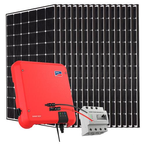 Kit solar autoconsumo a red con inversor sma5.0 y 16 paneles lg neon2 de 355w