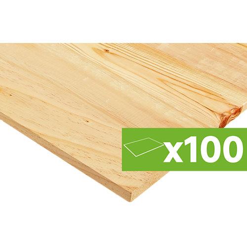 Lote 100 tableros pino nudo bruto de 200x50x1,8 cm cada uno
