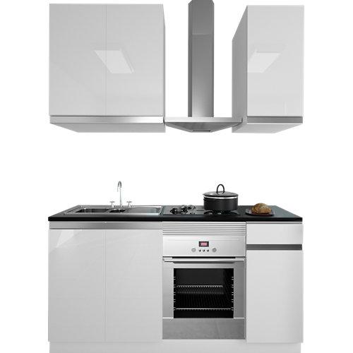 Cocina en kit delinia id mikonos blanco brillo 180cm con muebles altos y bajos