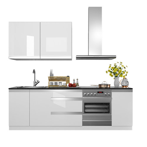 Cocina en kit delinia id mikonos blanco brillo 240cm con muebles altos y bajos