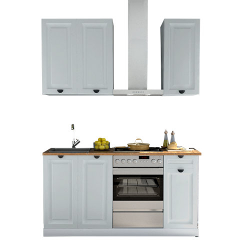 Cocina en kit delinia id oxford azul 180cm con muebles altos y bajos