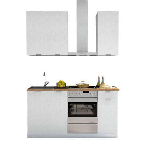 Cocina en kit delinia id oxford blanco 180cm con muebles altos y bajos