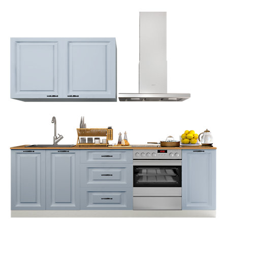 Cocina en kit delinia id oxford azul 240cm con muebles altos y bajos