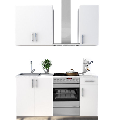 Cocina en kit delinia id sevilla blanco brillo 180cm con muebles altos y bajos