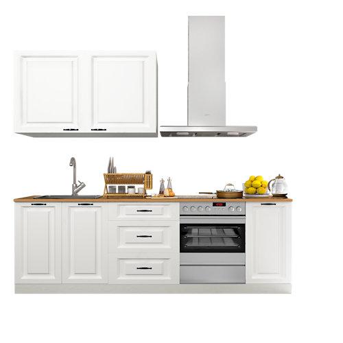 Cocina en kit delinia id oxford blanco 240cm con muebles altos y bajos