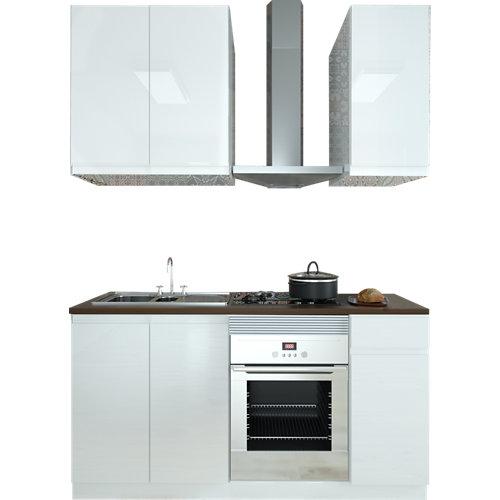 Cocina en kit delinia id tokyo blanco brillo 180cm cm con muebles altos y bajos