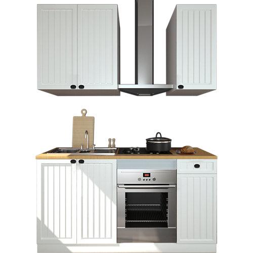Cocina en kit delinia id toscane blanco mate 180cm cm con muebles altos y bajos