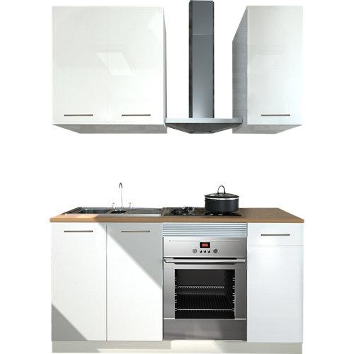 Cocina en kit delinia id atenas blanco brillo 180cm con muebles altos y bajos