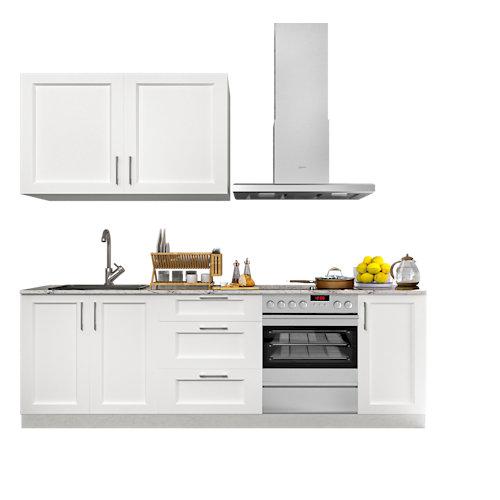 Cocina en kit delinia id newport blanco mate 240cm con muebles altos y bajos
