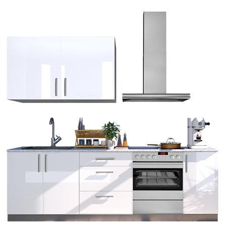 Cocina en kit delinia id sevilla blanco brillo 240cm con muebles altos y bajos