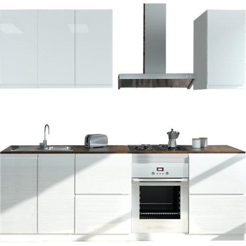 Cocina en kit delinia id tokyo blanco brillo 240cm con muebles altos y bajos