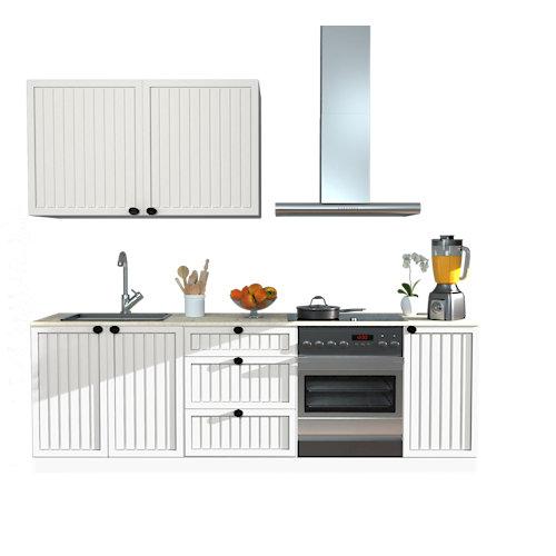 Cocina en kit delinia id toscane blanco mate 240cm con muebles altos y bajos