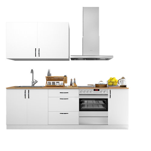 Cocina en kit delinia id sofia blanco 240cm con muebles altos y bajos