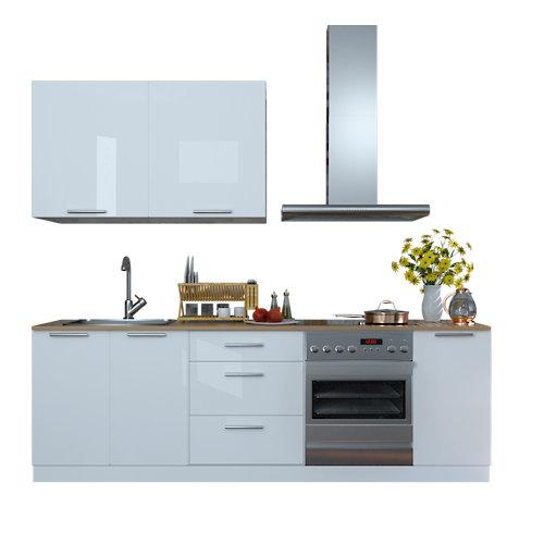 Cocina en kit delinia id atenas blanco brillo 240cm con muebles altos y bajos
