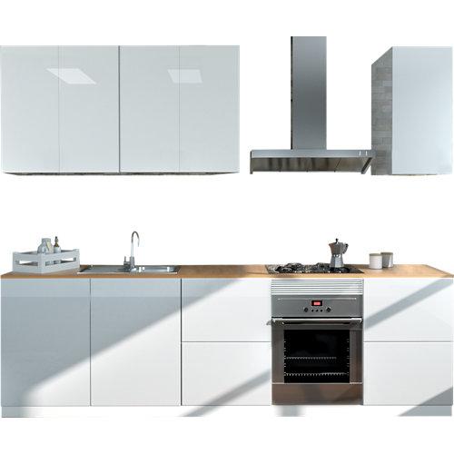Cocina en kit delinia id atenas blanco brillo 300cm con muebles altos y bajos