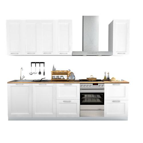 Cocina en kit delinia id newport blanco mate 300cm con muebles altos y bajos