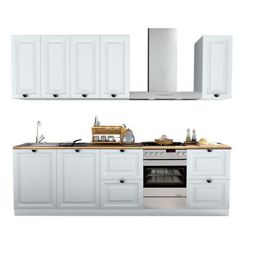 Cocina en kit delinia id oxford blanco 300cm con muebles altos y bajos