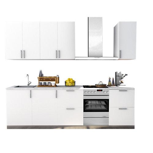 Cocina en kit delinia id sevilla blanco mate 300cm con muebles altos y bajos