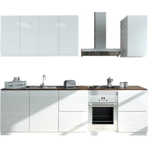 Cocina en kit delinia id tokyo blanco brillo 300cm con muebles altos y bajos