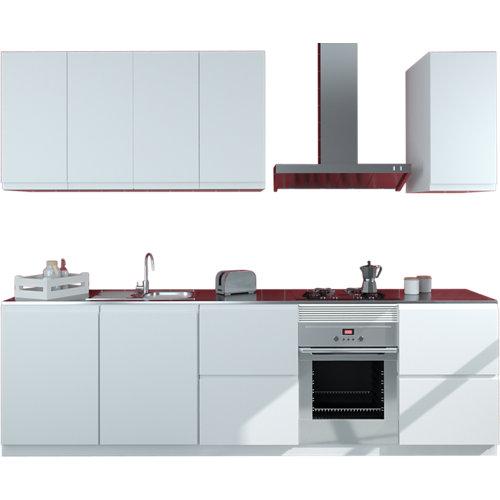 Cocina en kit delinia id tokyo blanco mate 300cm con muebles altos y bajos