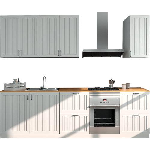 Cocina en kit delinia id toscane blanco mate 300cm con muebles altos y bajos