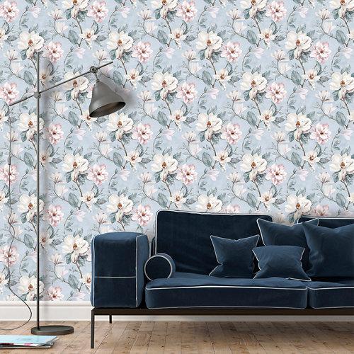 Papel pintado tnt floral magnolia w-03 azul para 6,80 m2