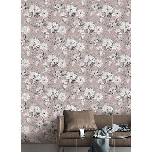 Papel pintado tnt floral magnolia w-04 rosa para 6,80 m2
